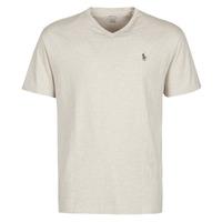 Abbigliamento Uomo T-shirt maniche corte Polo Ralph Lauren T-SHIRT AJUSTE COL V EN COTON LOGO PONY PLAYER Beige / Expedition / Dune / Heather