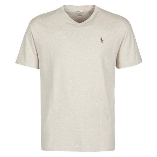 Abbigliamento Uomo T-shirt maniche corte Polo Ralph Lauren T-SHIRT AJUSTE COL V EN COTON LOGO PONY PLAYER Beige