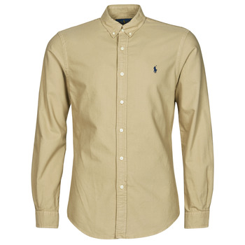 Abbigliamento Uomo Camicie maniche lunghe Polo Ralph Lauren CHEMISE CINTREE SLIM FIT EN OXFORD LEGER TYPE CHINO COL BOUTONNE Beige