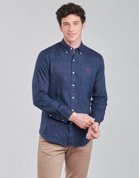 Abbigliamento Uomo Camicie maniche lunghe Polo Ralph Lauren CHEMISE AJUSTEE EN LIN COL BOUTONNE  LOGO PONY PLAYER Blu