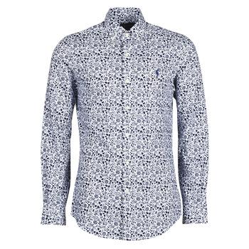 Abbigliamento Uomo Camicie maniche lunghe Polo Ralph Lauren CHEMISE CINTREE SLIM FIT EN POPLINE DE COTON COL BOUTONNE LOGO P Blu