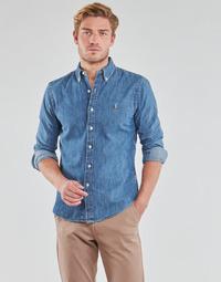 Abbigliamento Uomo Camicie maniche lunghe Polo Ralph Lauren CHEMISE CINTREE SLIM FIT EN JEAN DENIM BOUTONNE LOGO PONY PLAYER Blu / Denim