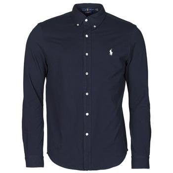 Abbigliamento Uomo Camicie maniche lunghe Polo Ralph Lauren CHEMISE AJUSTEE COL BOUTONNE EN POLO FEATHERWEIGHT LOGO PONY PLA Marine