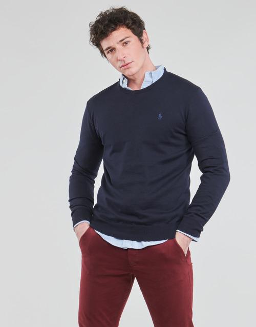 Abbigliamento Uomo Maglioni Polo Ralph Lauren PULL COL ROND AJUSTE EN COTON PIMA LOGO PONY PLAYER Blu