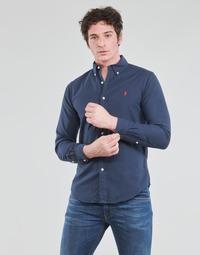 Abbigliamento Uomo Camicie maniche lunghe Polo Ralph Lauren CHEMISE CINTREE SLIM FIT EN OXFORD LEGER TYPE CHINO COL BOUTONNE Marine