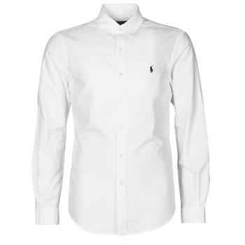 Abbigliamento Uomo Camicie maniche lunghe Polo Ralph Lauren CHEMISE CINTREE SLIM FIT EN OXFORD LEGER TYPE CHINO COL BOUTONNE Bianco