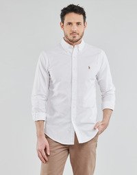 Abbigliamento Uomo Camicie maniche lunghe Polo Ralph Lauren CHEMISE AJUSTEE EN OXFORD COL BOUTONNE  LOGO PONY PLAYER MULTICO Bianco