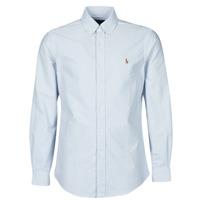 Abbigliamento Uomo Camicie maniche lunghe Polo Ralph Lauren CHEMISE AJUSTEE EN OXFORD COL BOUTONNE  LOGO PONY PLAYER MULTICO Blu / Bianco