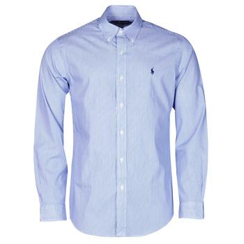 Abbigliamento Uomo Camicie maniche lunghe Polo Ralph Lauren CHEMISE AJUSTEE EN POPLINE DE COTON COL BOUTONNE  LOGO PONY PLAY Blu / Bianco / Stripes