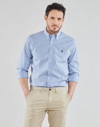 Abbigliamento Uomo Camicie maniche lunghe Polo Ralph Lauren CHEMISE AJUSTEE EN POPLINE DE COTON COL BOUTONNE  LOGO PONY PLAY Blu / Bianco