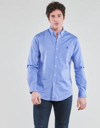 Abbigliamento Uomo Camicie maniche lunghe Polo Ralph Lauren CHEMISE AJUSTEE EN POPLINE DE COTON COL BOUTONNE  LOGO PONY PLAY Blu