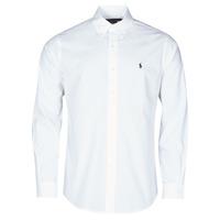 Abbigliamento Uomo Camicie maniche lunghe Polo Ralph Lauren CHEMISE AJUSTEE EN POPLINE DE COTON COL BOUTONNE  LOGO PONY PLAY Bianco