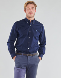 Abbigliamento Uomo Camicie maniche lunghe Polo Ralph Lauren CHEMISE AJUSTEE EN POPLINE DE COTON COL BOUTONNE  LOGO PONY PLAY Marine