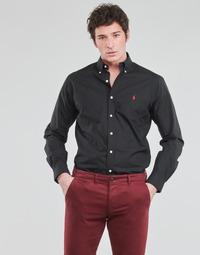 Abbigliamento Uomo Camicie maniche lunghe Polo Ralph Lauren CHEMISE AJUSTEE EN POPLINE DE COTON COL BOUTONNE  LOGO PONY PLAY Nero