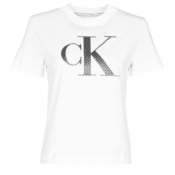 Abbigliamento Donna T-shirt maniche corte Calvin Klein Jeans SATIN BONDED FILLED CK TEE Bianco