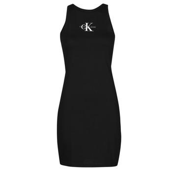 Abbigliamento Donna Abiti corti Calvin Klein Jeans MONOGRAM TANK DRESS Nero