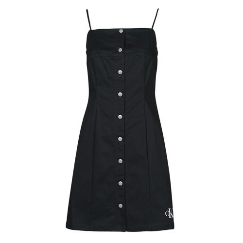 Abbigliamento Donna Abiti corti Calvin Klein Jeans COTTON TWILL BUTTON DRESS Nero