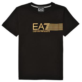Abbigliamento Bambino T-shirt maniche corte Emporio Armani EA7 3KBT54-BJ02Z-1200 Nero / Oro