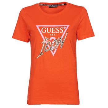 Abbigliamento Donna T-shirt maniche corte Guess SS CN ICON TEE Rosso