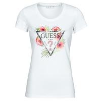Abbigliamento Donna T-shirt maniche corte Guess SS CN REBECCA TEE Bianco / Multicolore