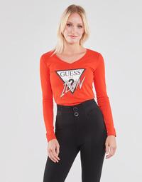 Abbigliamento Donna T-shirts a maniche lunghe Guess LS VN ICON TEE Rosso