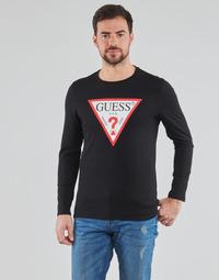 Abbigliamento Uomo T-shirts a maniche lunghe Guess CN LS ORIGINAL LOGO TEE Nero