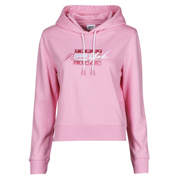 Abbigliamento Donna Felpe Tommy Jeans TJW CROPPED TOMMY FLAG HOODIE Rosa