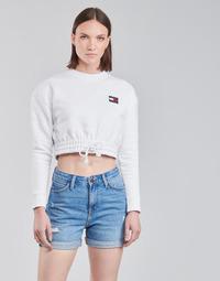 Abbigliamento Donna Felpe Tommy Jeans TJW SUPER CROPPED BADGE CREW Bianco