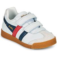 Scarpe Unisex bambino Sneakers basse Gola HARRIER LEATHER VELCRO Bianco / Marine / Rosso