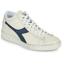 Scarpe Sneakers alte Diadora GAME L WAXED ROW CUT Bianco / Blu