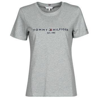 Abbigliamento Donna T-shirt maniche corte Tommy Hilfiger TH ESS HILFIGER C-NK REG TEE SS Grigio