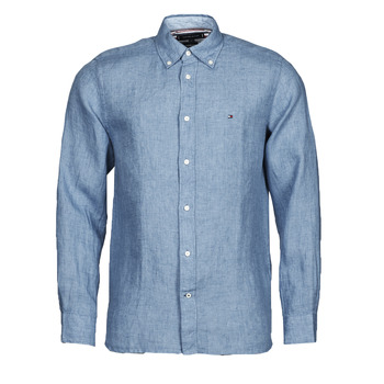 Abbigliamento Uomo Camicie maniche lunghe Tommy Hilfiger PIGMENT DYED LINEN SHIRT Blu
