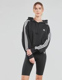 Abbigliamento Donna Felpe adidas Originals SHORT HOODIE Nero