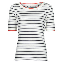 Abbigliamento Donna T-shirt maniche corte Esprit RAYURES COL ROUGE Bianco