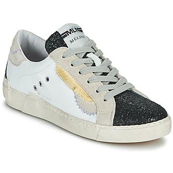 Scarpe Donna Sneakers basse Meline NKC139 Bianco / Glitter / Nero