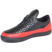Scarpe Uomo Sneakers basse Malu Shoes Sneakers bassa uomo effetto trapunta in vera pelle con linguett NERO
