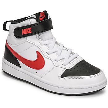 Scarpe Bambino Sneakers basse Nike NIKE COURT BOROUGH MID 2 Bianco / Rosso / Nero