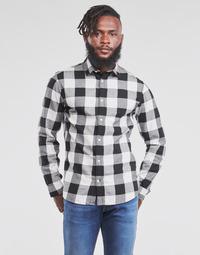 Abbigliamento Uomo Camicie maniche lunghe Jack & Jones JJEGINGHAM Bianco / Nero