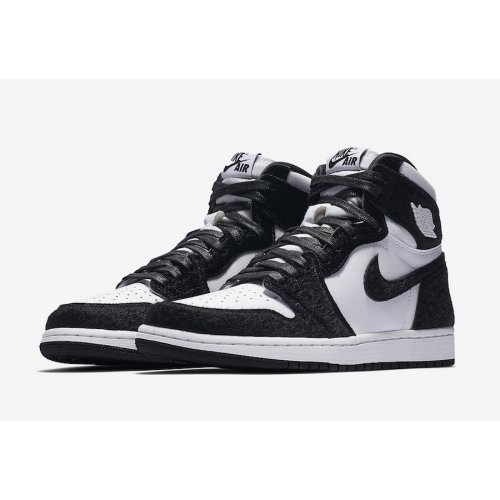 Scarpe Sneakers alte Nike Air Jordan 1 High Panda Black/Black-Metallic Gold-White