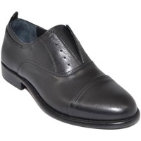 Scarpe Uomo Derby & Richelieu Malu Shoes Scarpe uomo stringata elastico inglese punta alzata vera pelle NERO