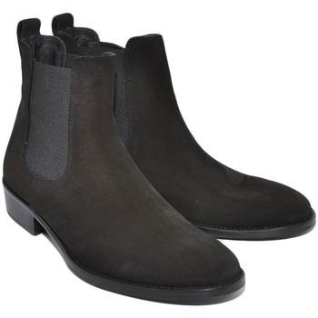 Scarpe Uomo Stivaletti Ls Luisantiago Chelsea Boots stivali uomo  in vera pelle scamosc NERO