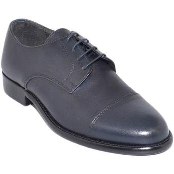 Scarpe Uomo Derby & Richelieu Malu Shoes Scarpe uomo stringate mezza punta vera pelle nappa blu made in BLU