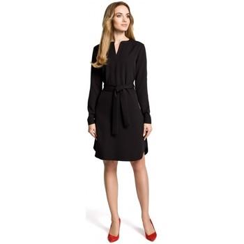 Abbigliamento Donna Abiti corti Moe M361 Abito a camicia con cintura legata - nero