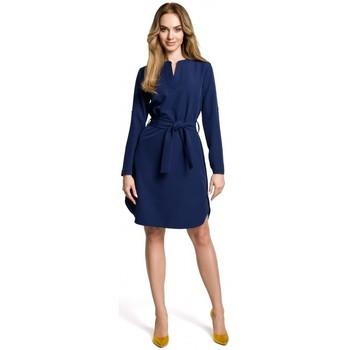Abbigliamento Donna Abiti corti Moe M361 Abito a camicia con cintura legata - blu navy