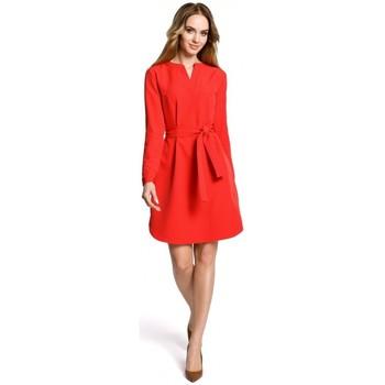 Abbigliamento Donna Abiti corti Moe M361 Abito a camicia con cintura legata - rosso