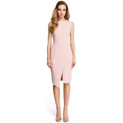 Abbigliamento Donna Abiti corti Style S105 Abito senza maniche con finto risvolto - cipria