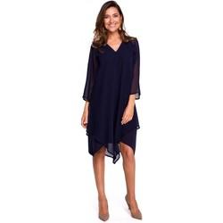 Abbigliamento Donna Abiti corti Style S159 Abito in chiffon con orlo asimmetrico - blu navy