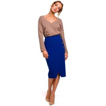 Abbigliamento Donna Gonne Moe M454 Gonna a tubino con bottoni decorativi - blu reale