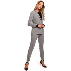 Abbigliamento Donna Giacche da completo Moe M459 Blazer con polsini a coste a righe - grigio