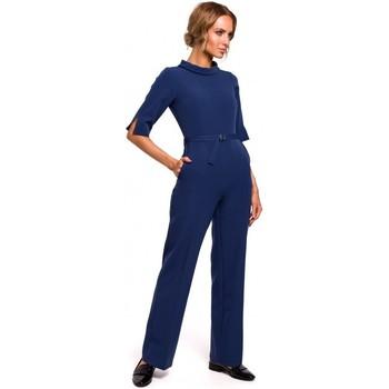 Abbigliamento Donna Tuta jumpsuit / Salopette Moe M463 Jumpsuij con colletto rialzato - blu navy